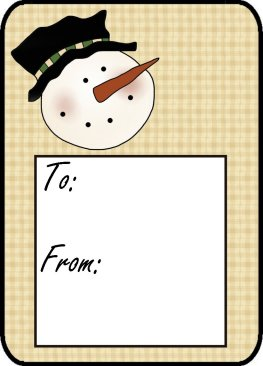 Snowman Christmas Gift Tag to Print