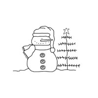 Snowman Pattern with a Charlie Brown Christmas Tree