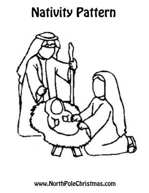 Baby Jesus in a Manger Outline - NorthPoleChristmas.com