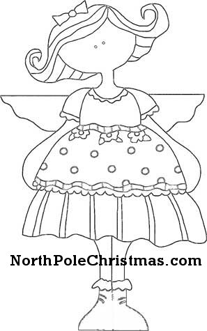 Line drawing of angel ornament