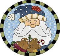 Santa and Gingerbreads Ornament Template