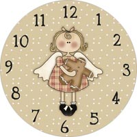 angel with gingerbread man clock face