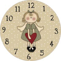 angel with heart clock face