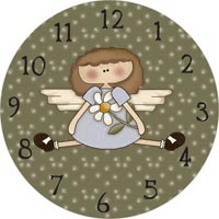 angel with flower green clock face