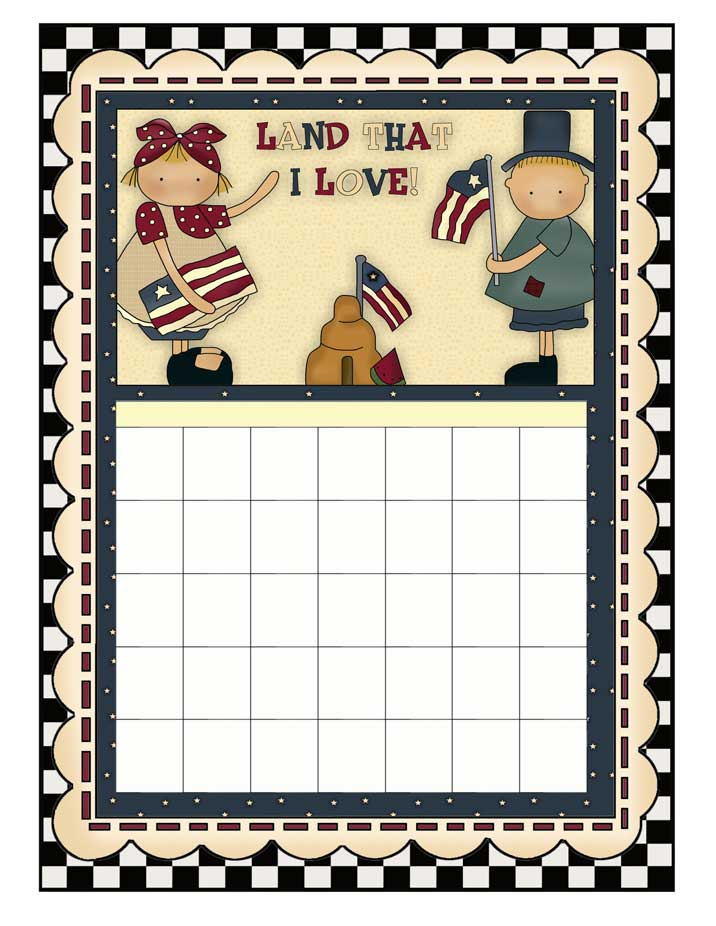 Americana Kids Printable Calendar - Blank Calendar for Any Year - NorthPoleChristmas.com