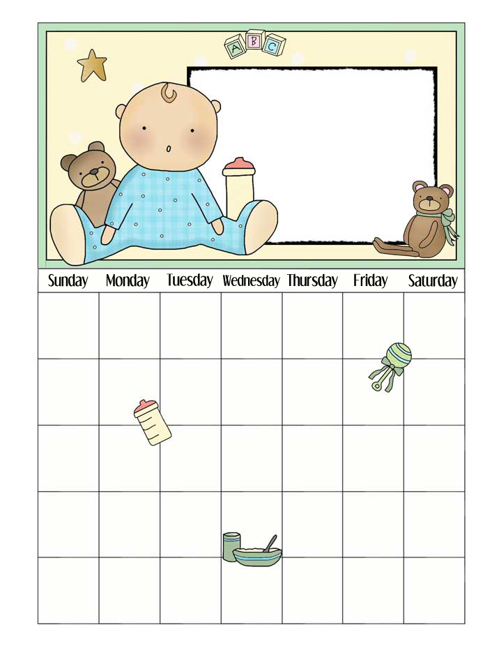 Baby Boy Printable Calendar - Add Photo to Calendar - Any Month or Year - NorthPoleChristmas.com