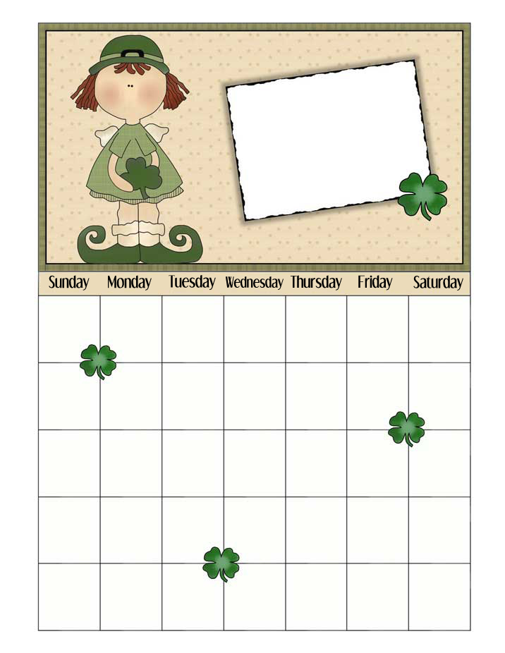 March Printable Calendar For Any Year with Shamrocks - NorthPoleChristmas.com