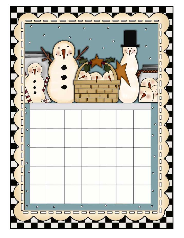 Snowman Lovers Printable Calendar - An Any Year or Month Calendar - NorthPoleChristmas.com