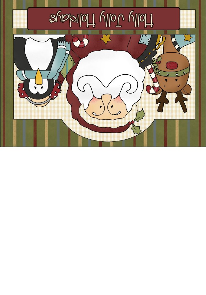 Printable Greeting Card - Free - Santa, Reindeer and Penguin - Santa Claus Christmas Cards