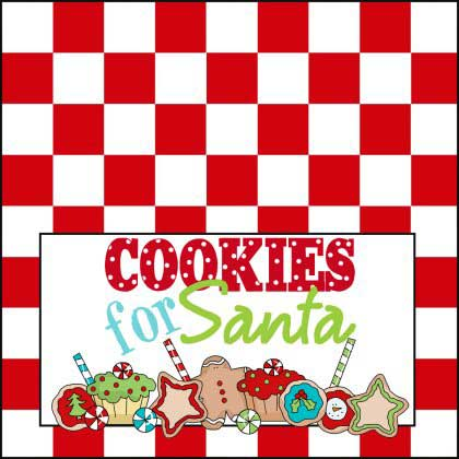 Santa's Cookies - Red Checkered Printable Sign - NorthPoleChristmas.com