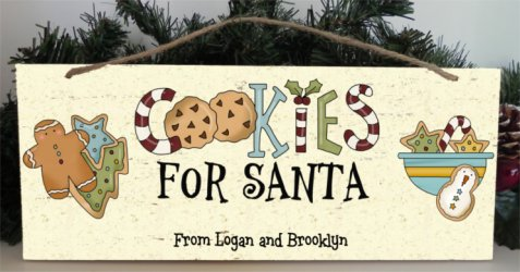 Cookies For Santa wood sign