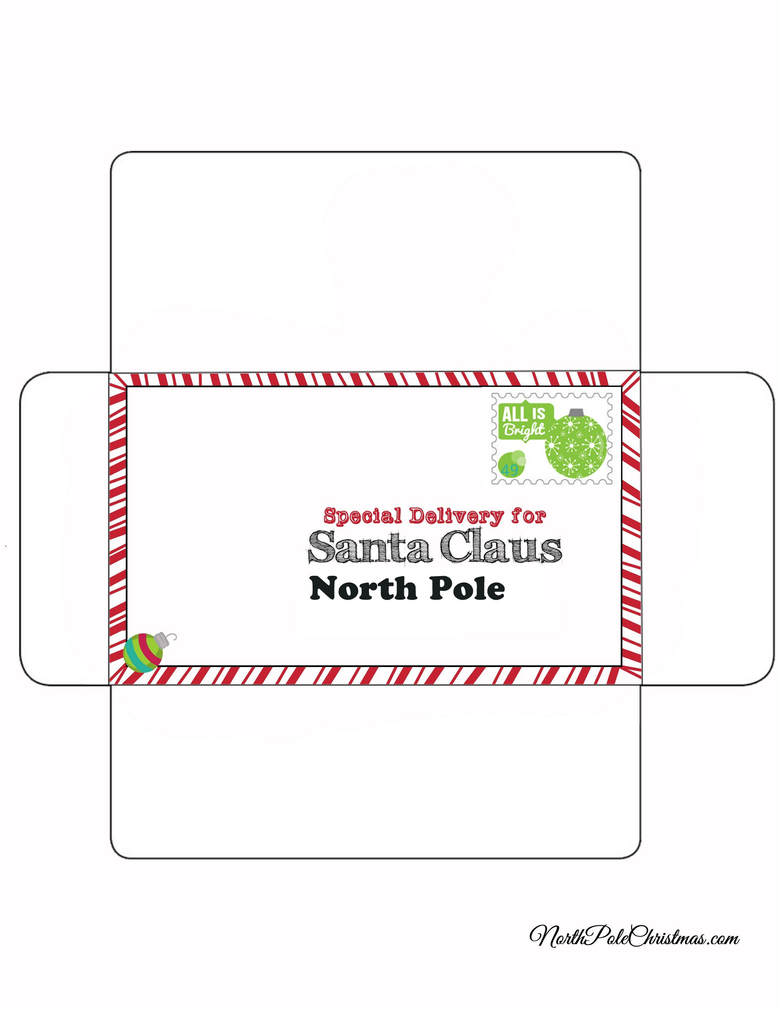 Envelope for Letter to Santa - Bright Stamp - NorthPoleChristmas.com