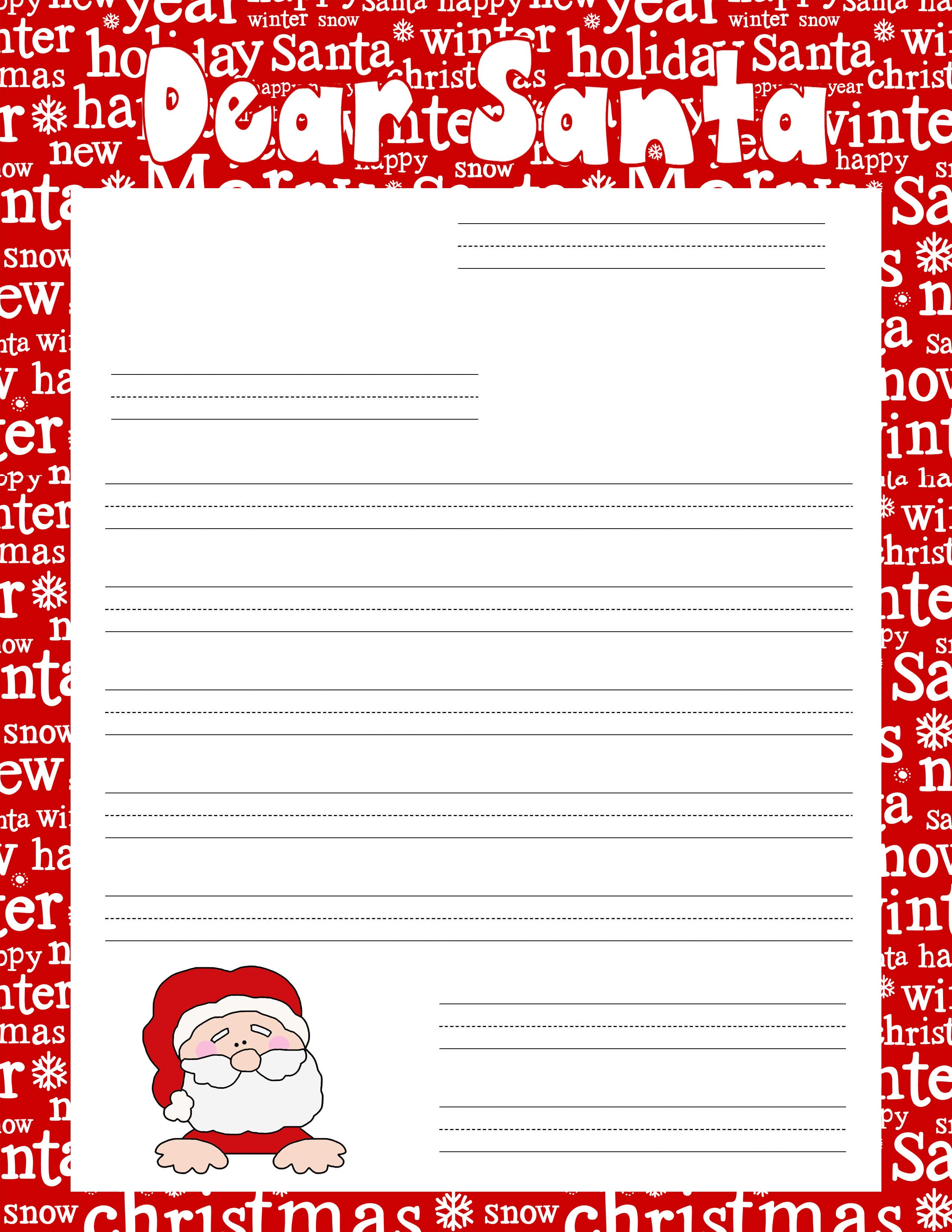 Santa Ruled Writing Paper for a Letter to Santa or Grandma