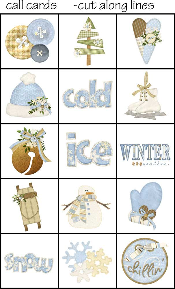 winter bingo call card set printable