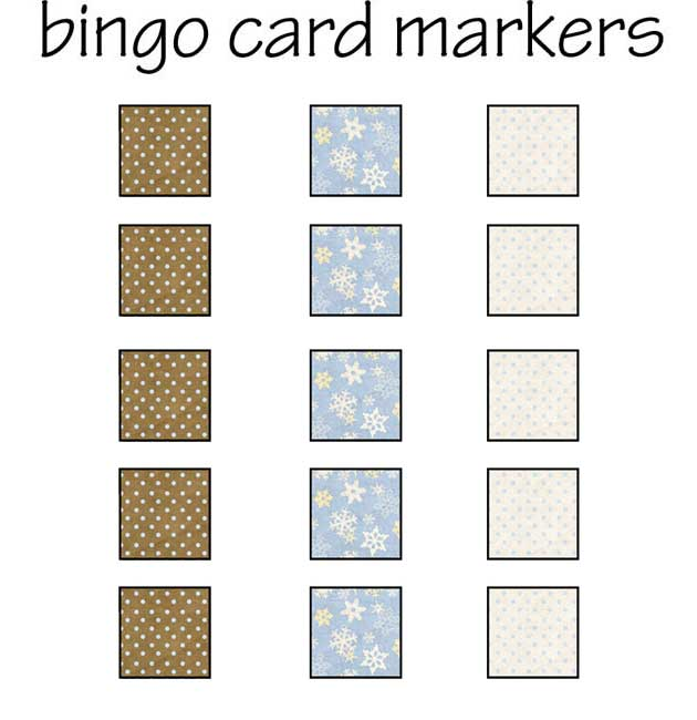 Winter Bingo - Card Markers