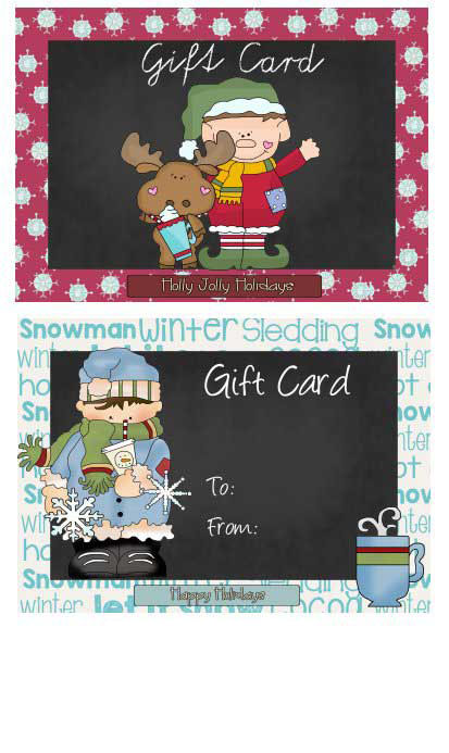Chalkboard Gift Cards to Print