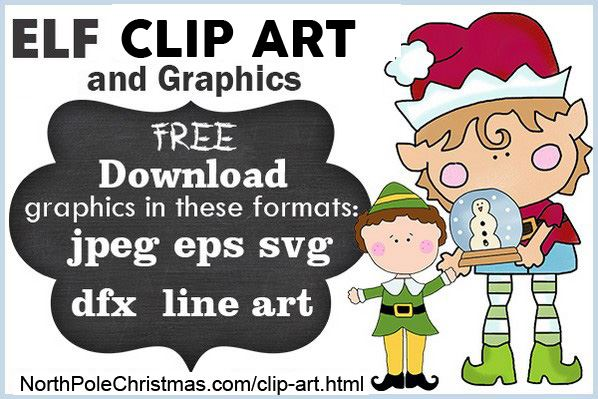 Elf Clipart, 6 Delightful Popular Elf SVG, JPEG, Line Art - NorthPoleChristmas.com