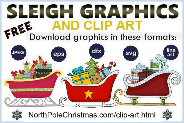 Santa's Sleigh Clipart at NorthPoleChristmas.com