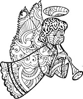 Angel with Horn Coloring Page