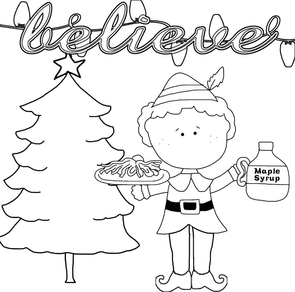 Christmas Buddy the Elf with Maple Syrup - Black and White quote
