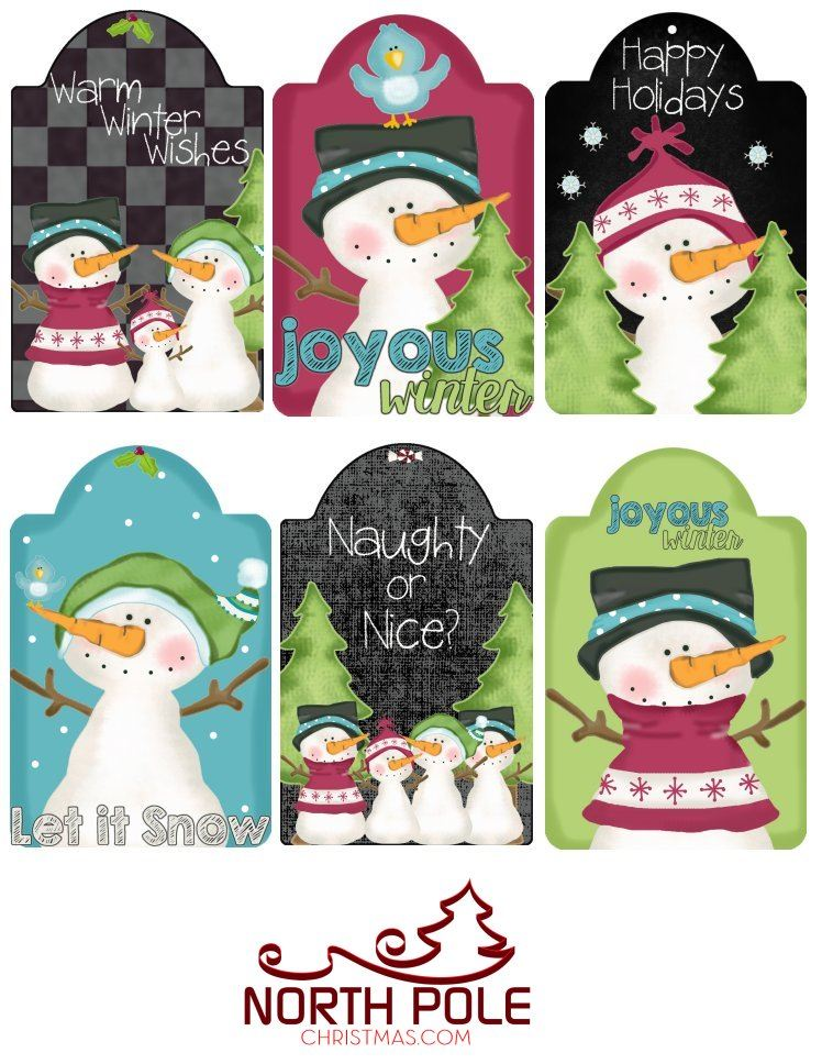 Christmas Hang Tags - Printable Snowman Chalkboard Tags - NorthPoleChristmas.com