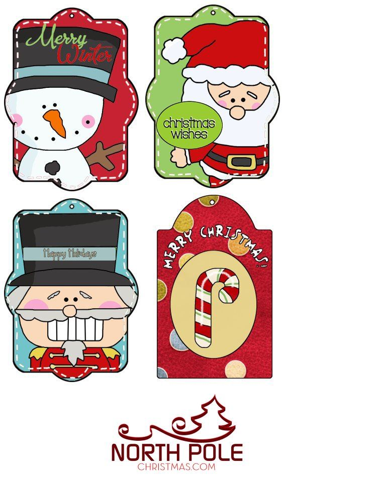 Cute Christmas Hang Tag Set of 4 Tags - NorthPoleChristmas.com