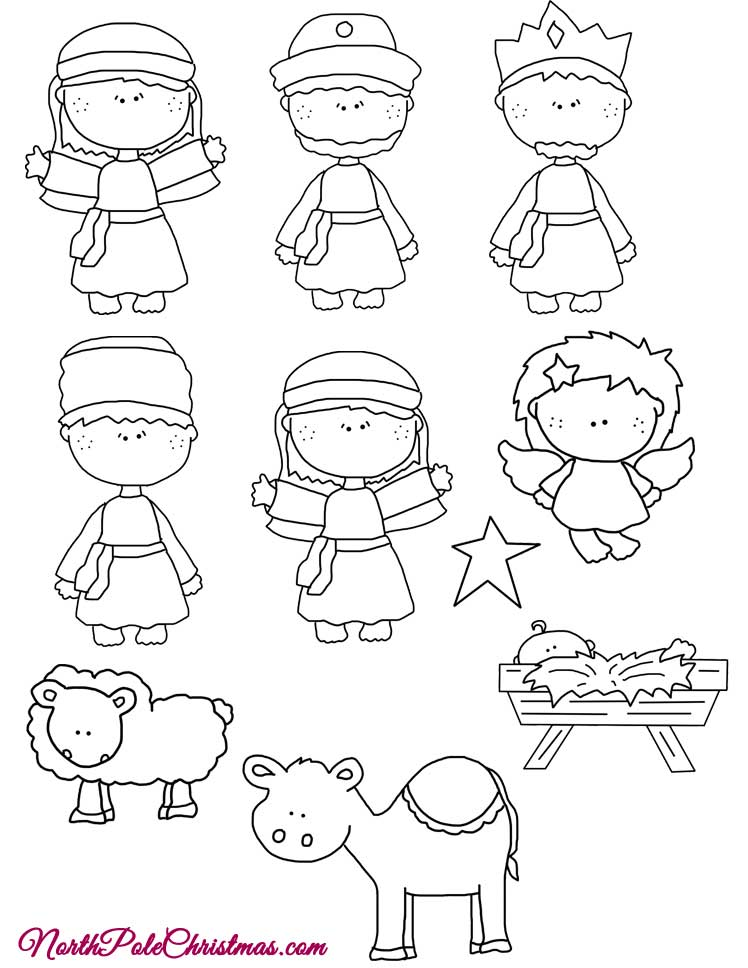 Joy Nativity Template Line Art