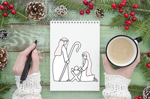 Nativity Outline - 8 Nativity Stencils, Baby Jesus Coloring - NorthPoleChristmas.com