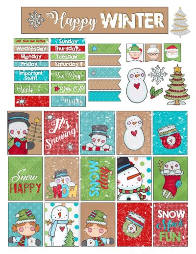 Free Printable Planner Stickers - Winter Clipart