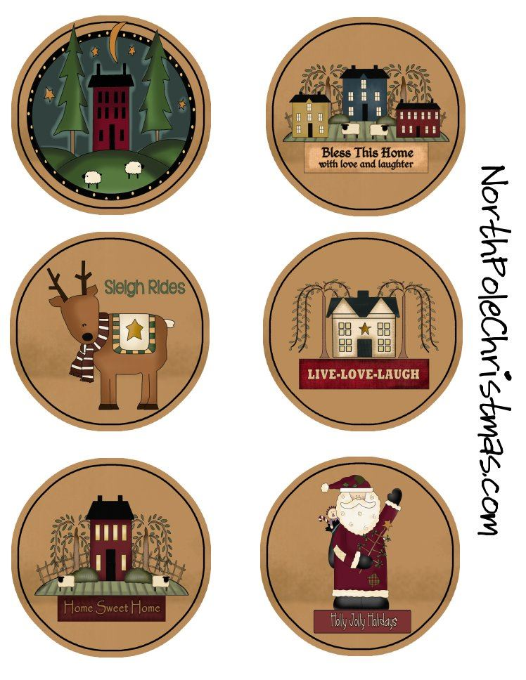 6 Prim Ornaments or Circles to Print