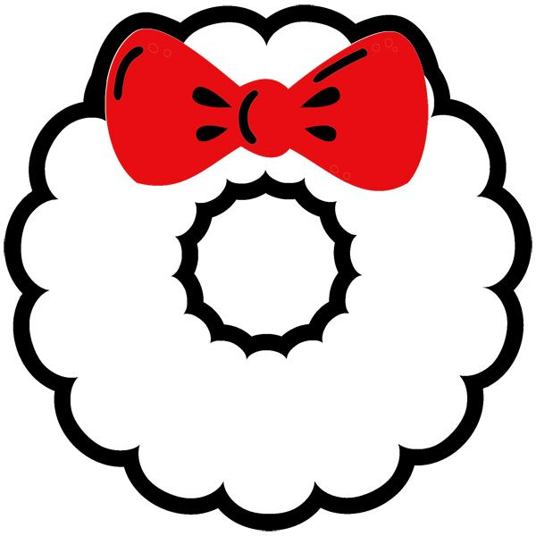 Wreath Template with Bow - NorthPoleChristmas.com