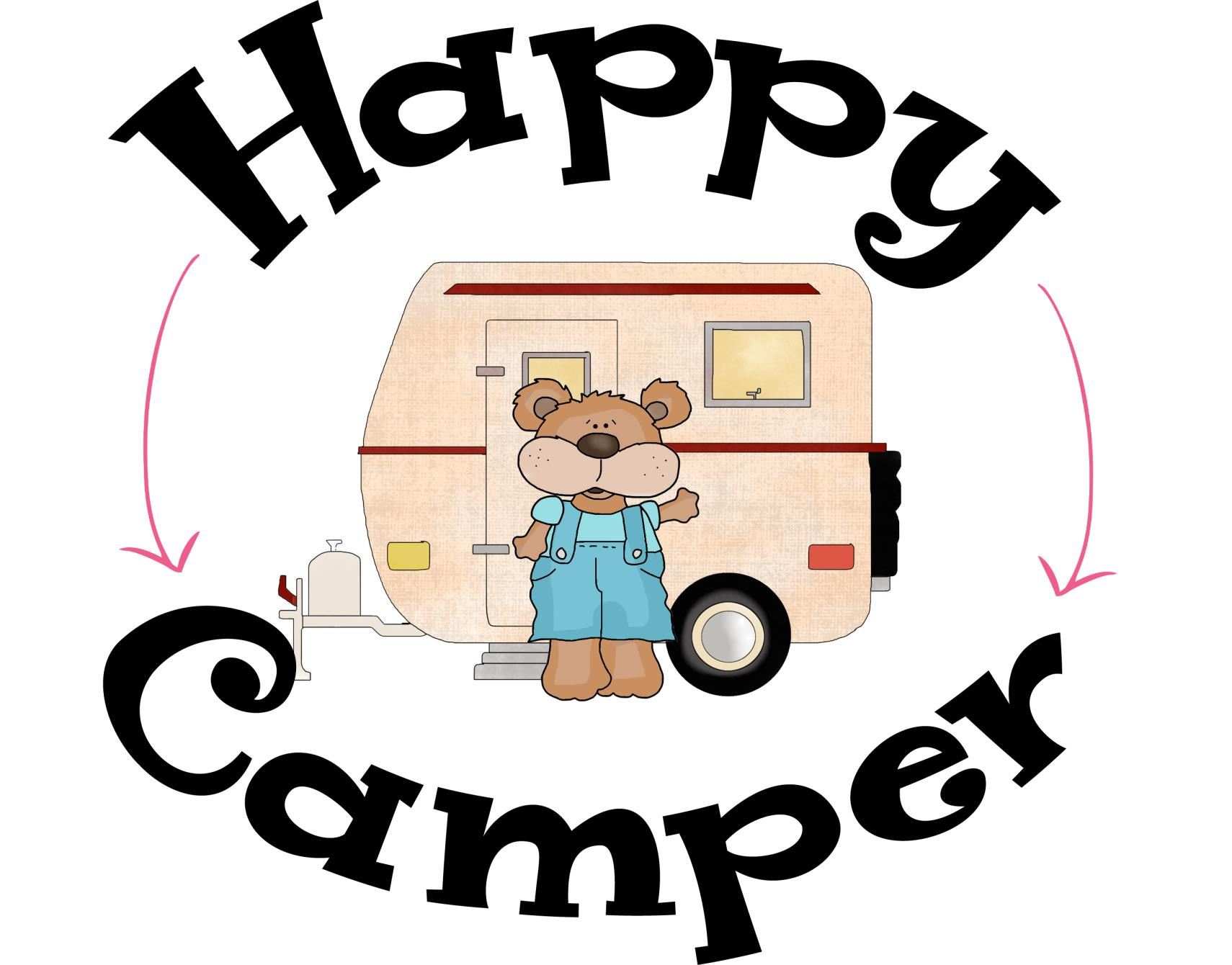 Camping Sayings - Happy Camper - Camper with Bear