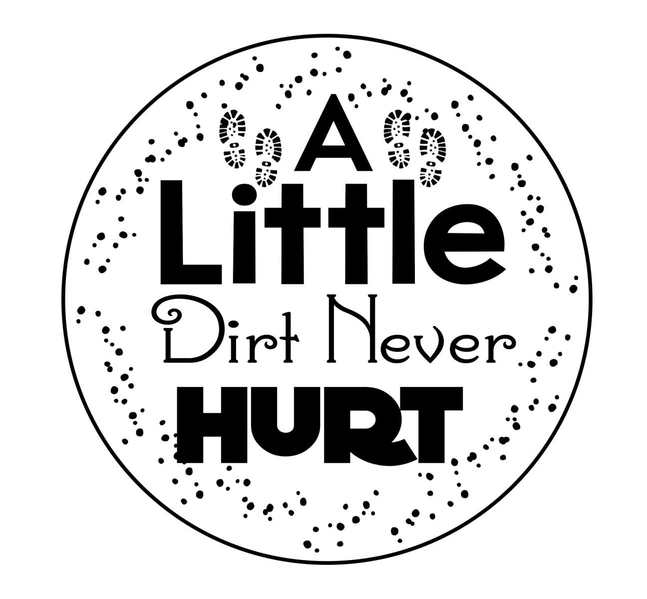 Camping Quotes - A Little Dirt Never Hurt - Camping Sign