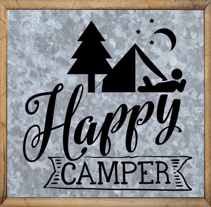 Outdoor Quotes - Happy Camper - Framed Sign, Printable