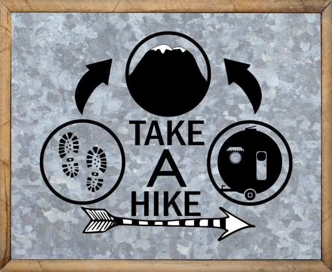 Camper Quotes - Free Metal Camping Hike Sign - Take A Hike