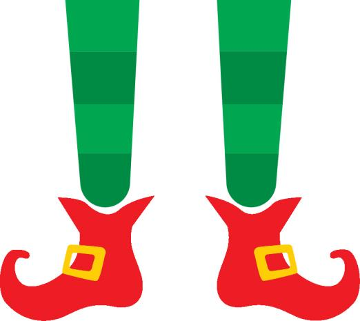 Printable Elf Legs with Buckles on Curly Toed Elf Shoes