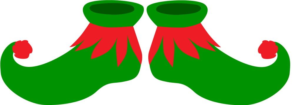 Elf Shoes Clipart – Green & Red Curly-Toed Elf Shoes, Print