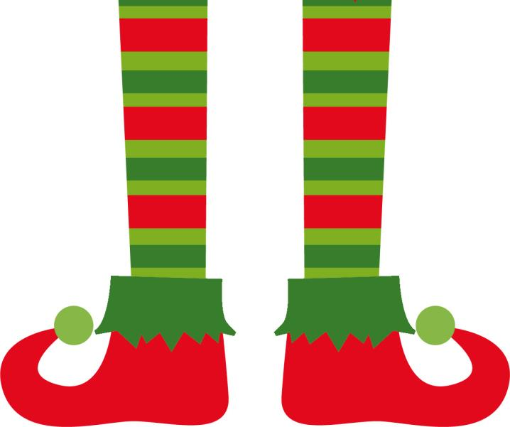 Elf Legs Clip Art or Templates - Striped Legs with Red Shoes