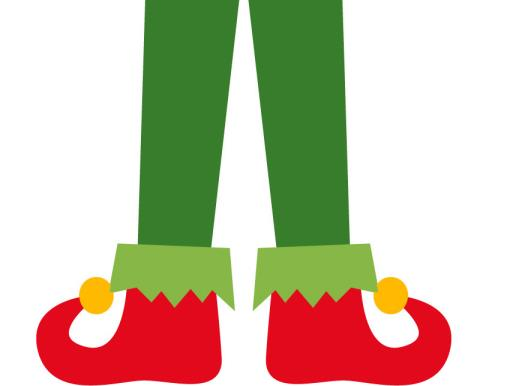 Elf Legs & Pointy Shoes Clipart in Red & Green, Popular Free
