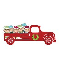 Christmas Trucks with Elves