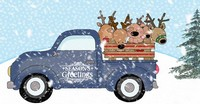 Blue Truck with Christmas Reindeer