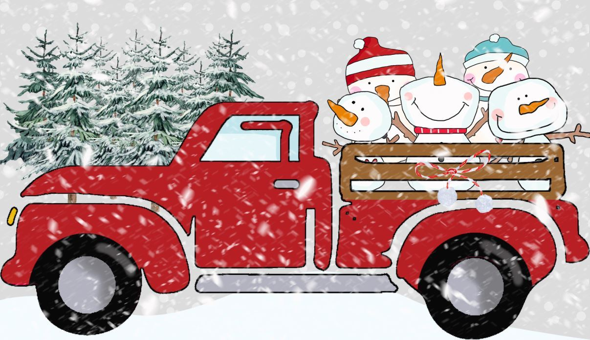 Truck Clipart with the Cutest 5 Snowmen in Back - Christmas
