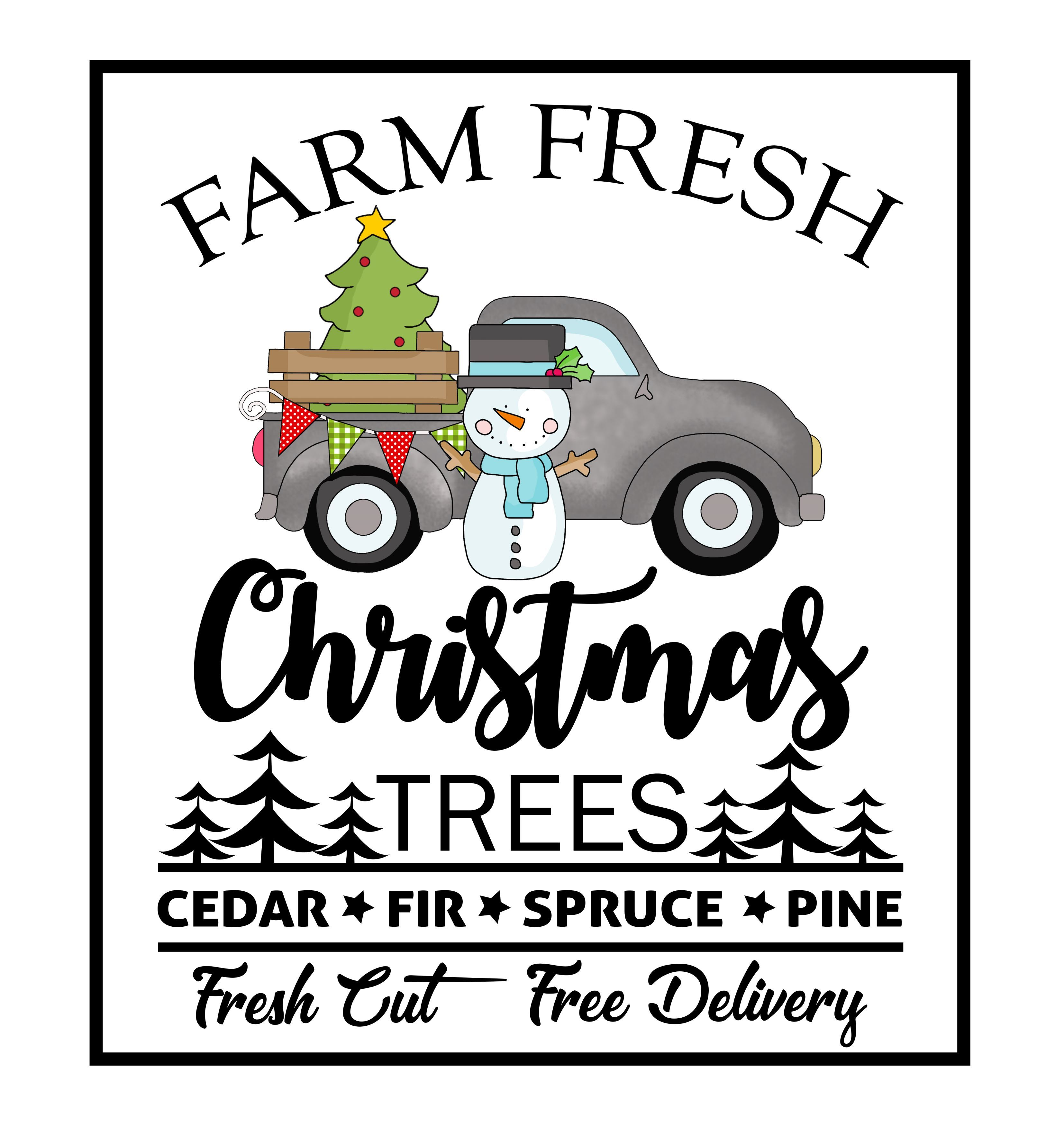 Farm Fresh Christmas Trees with Truck Clipart