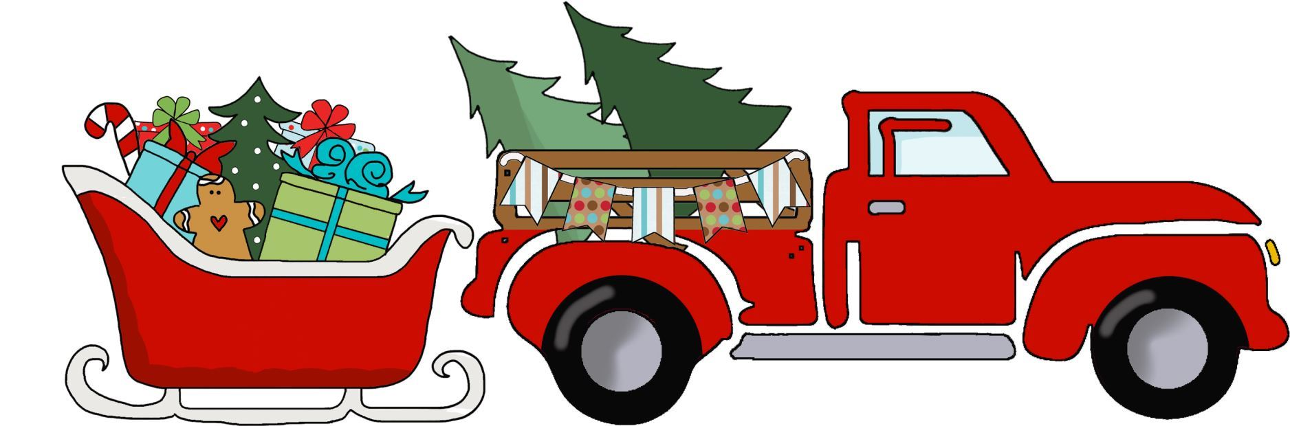 Red Truck Christmas - Red Truck Pulling Sleigh Full of Gifts