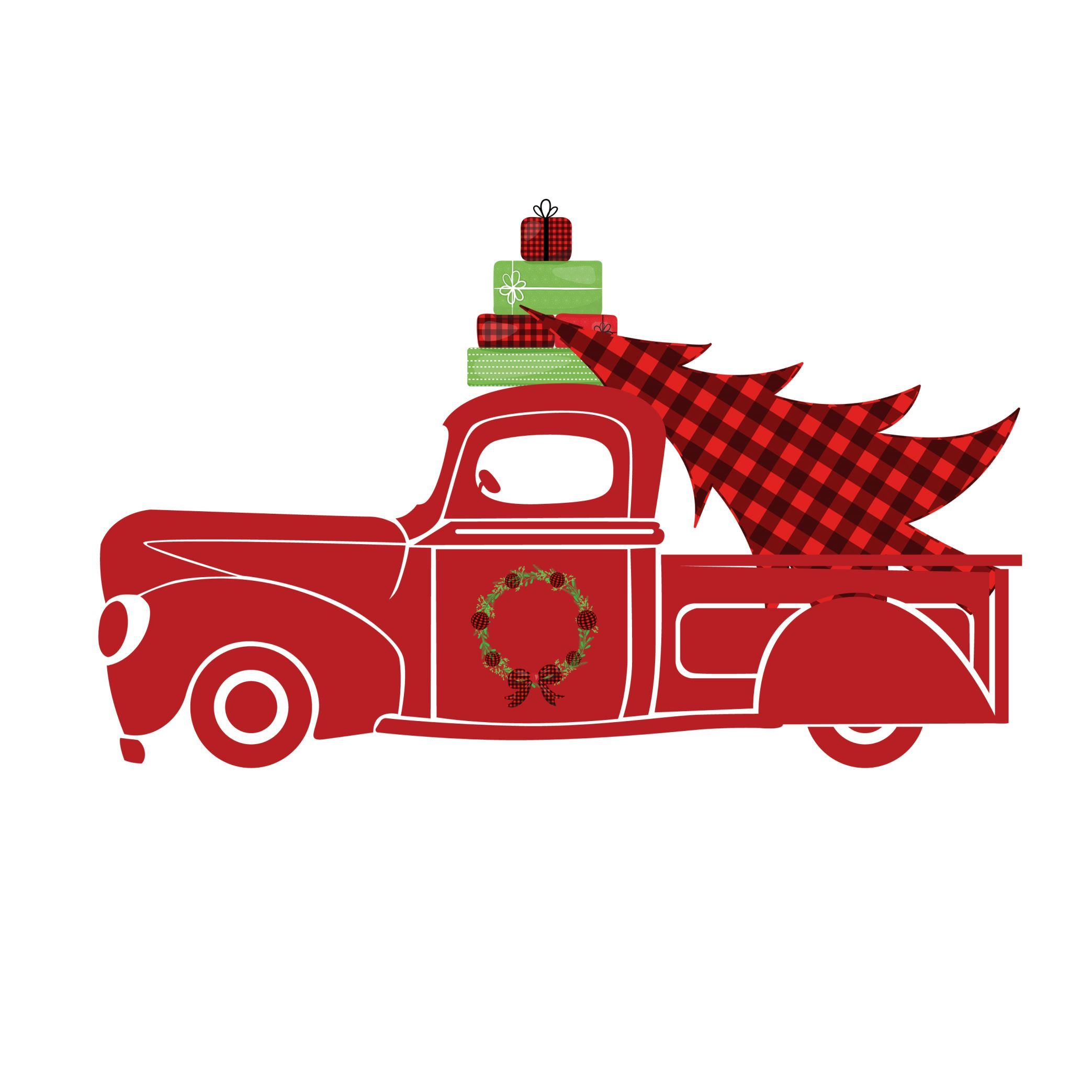 Red Truck Christmas with Christmas Tree - Free Clipart