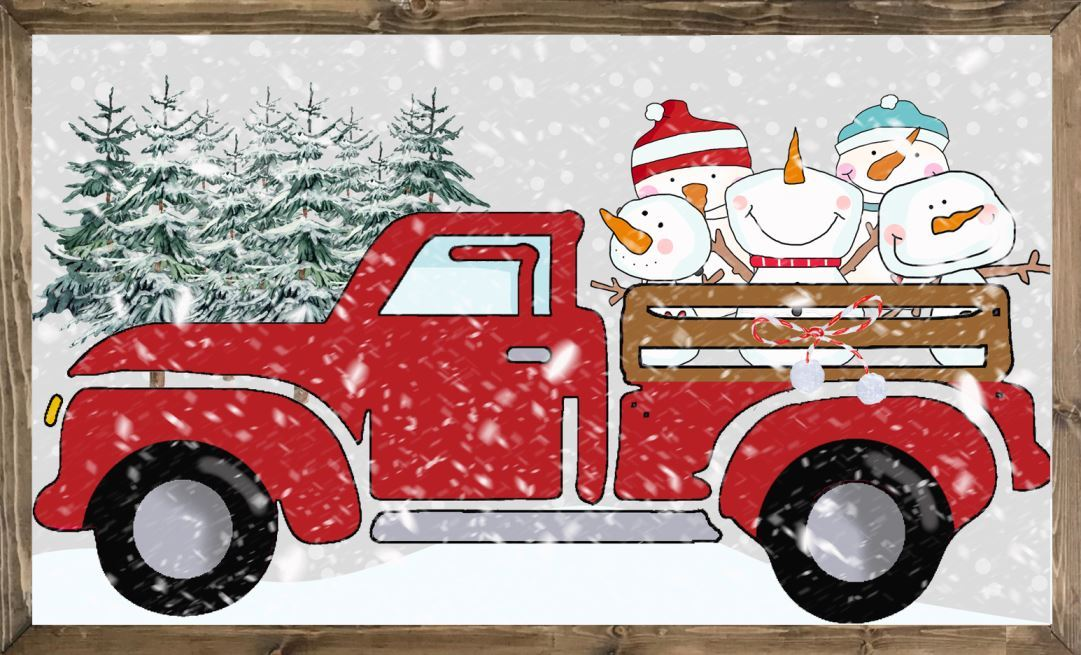 Pickup Truck Clipart with 5 Adorable Snowmen: Truck Images
