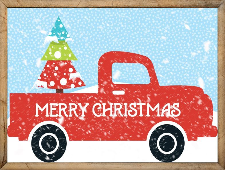 Framed Red Truck with Christmas Tree - Vintage Truck Clipart