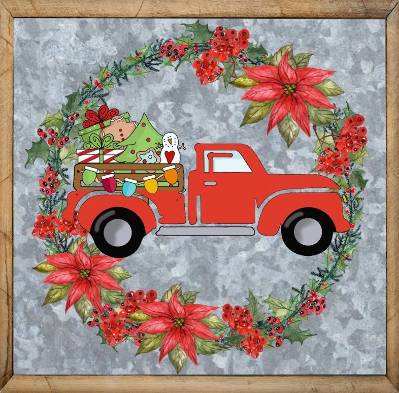 Red Truck Clipart Vintage Red Truck Christmas Decor
