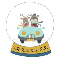 Bear Reindeer Car Snow Globe