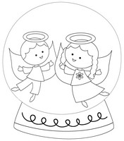Angels Black And White Snow Globe